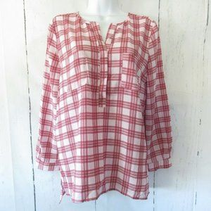 Joie Top Pink Red Plaid Popover Long Sleeve